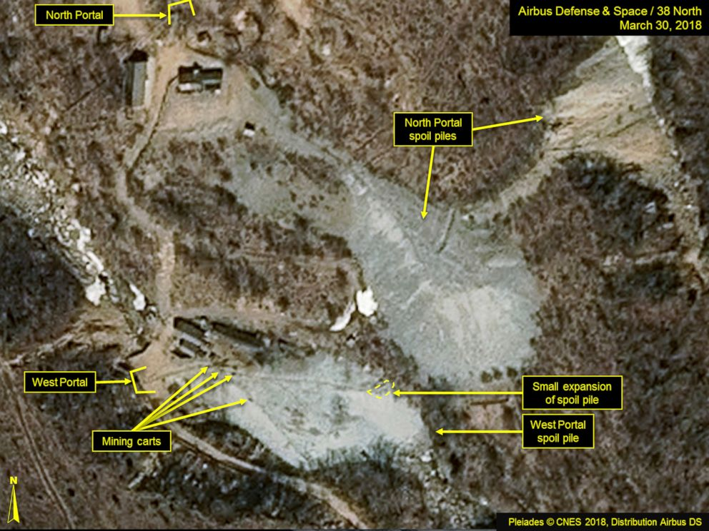 This satellite image released and notated by Airbus Defense & Space and 38 North on March 30, 2018, shows the Punggye-ri nuclear test site in North Korea.