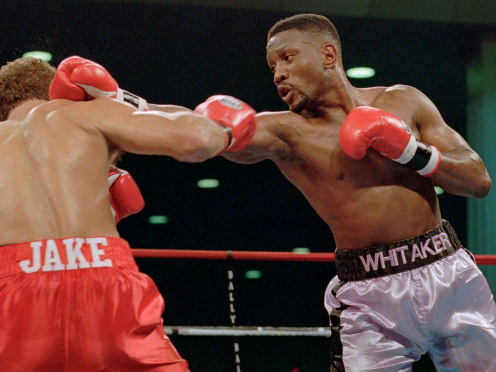 PHOTO: In this Nov. 18, 1995, file photo, WBC welterweight champion Pernell Sweet Pea Whitaker, right, delivers a right to the head of challenger Jake Rodriguez during their bout in Atlantic City, N.J.