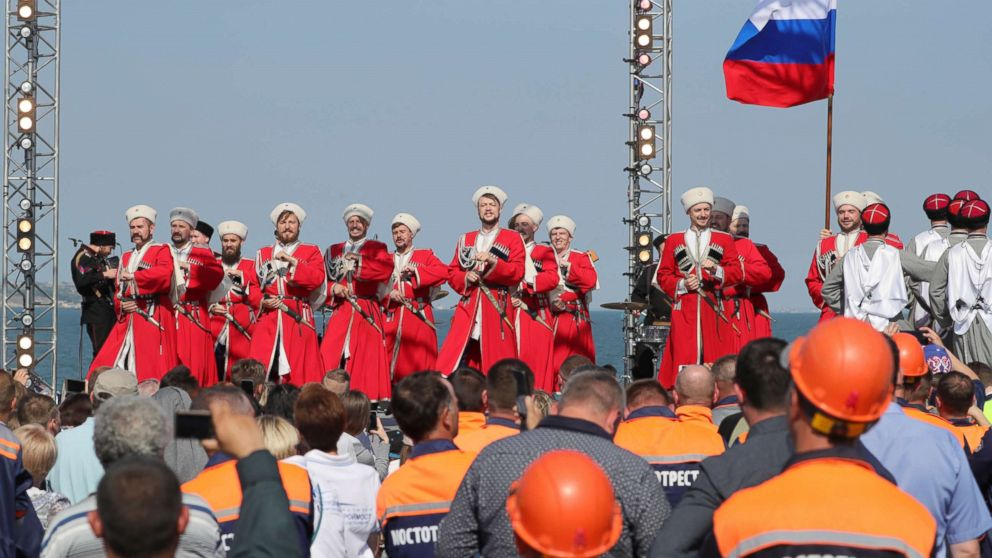 A combined rally and concert marking the opening of a road section of the Kerch Strait (Crimean) Bridge, May 15, 2018, Kerch, Russia.