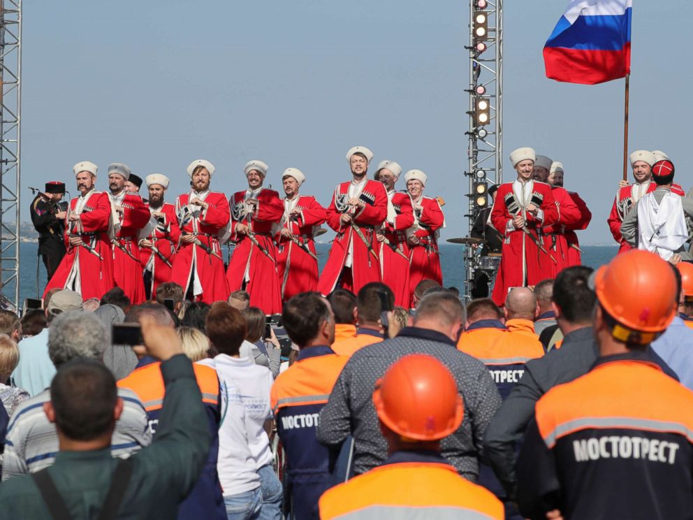 PHOTO: A combined rally and concert marking the opening of a road section of the Kerch Strait (Crimean) Bridge, May 15, 2018, Kerch, Russia.