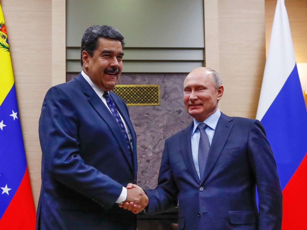 PHOTO: Russian President Vladimir Putin, right, shakes hands with his Venezuelan counterpart Nicolas Maduro during their meeting at the Novo-Ogaryovo residence outside in Moscow, Dec. 5, 2018.