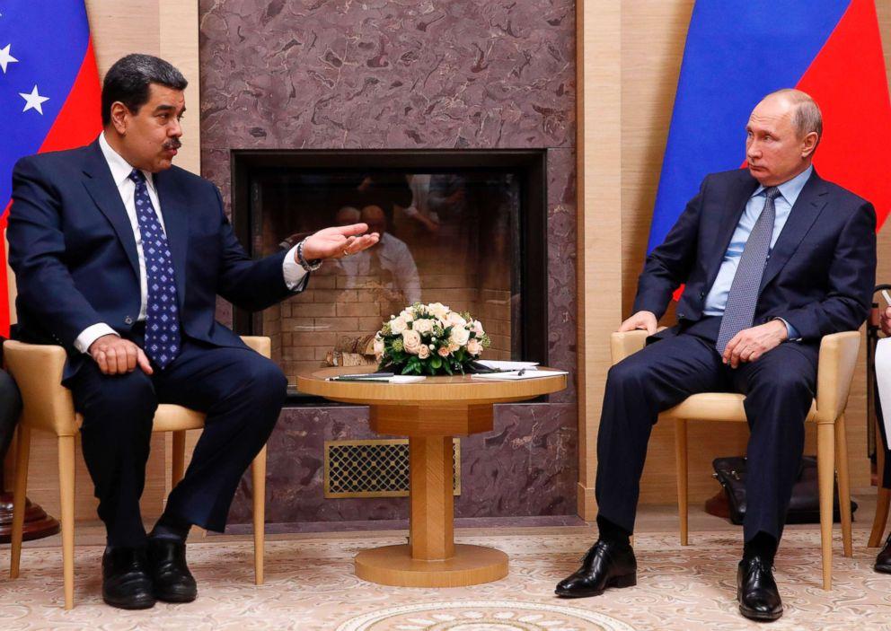 PHOTO: Russian President Vladimir Putin (R) meets with his Venezuelan counterpart Nicolas Maduro at the Novo-Ogaryovo state residence outside Moscow, Dec. 5, 2018.