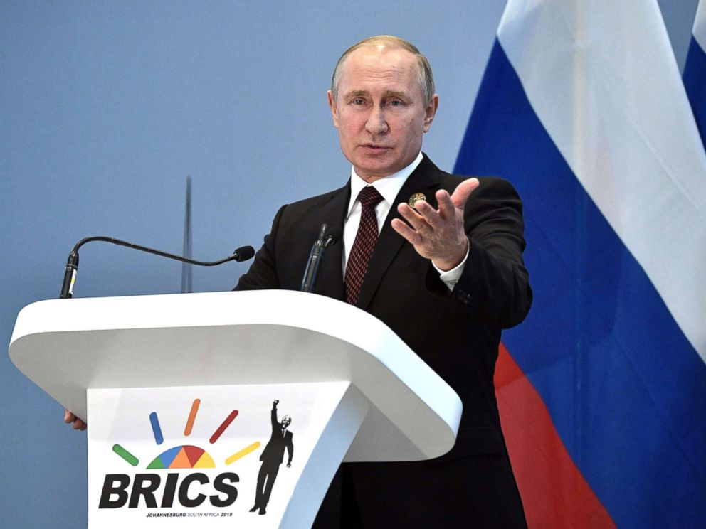 PHOTO: Russian President Vladimir Putin holds a press conference at the 10th BRICS summit (acronym for the grouping of the worlds leading emerging economies, namely Brazil, Russia, India, China and South Africa) on July 27, 2018 in Johannesburg.