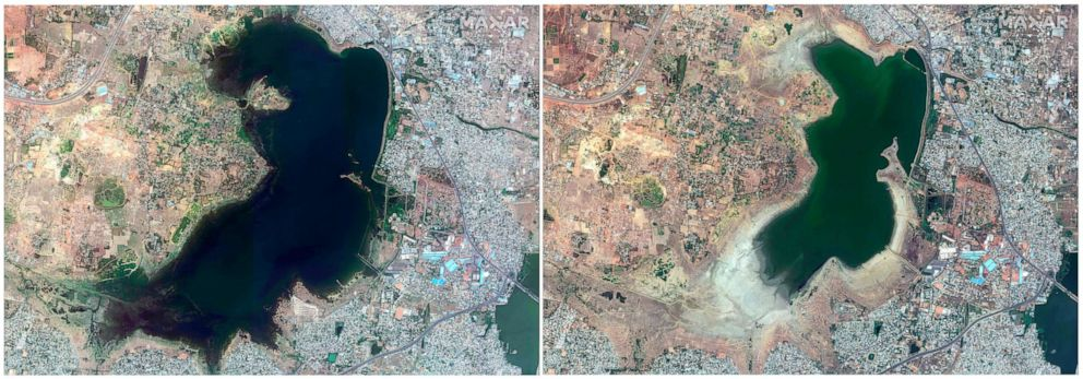 PHOTO: This combo of June 15, 2018, satellite image, left and April 6, 2019, satellite image right provided by Maxar Technologies shows Puzhal reservoir in Chennai, India before and during drought.