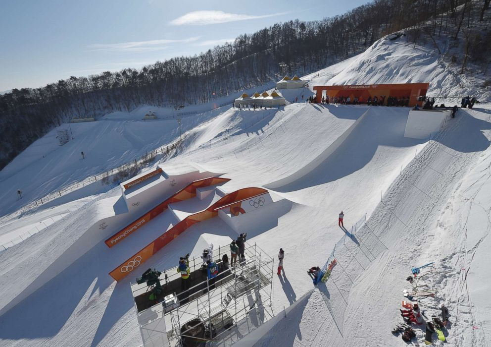 PHOTO: Snowboarders training in the slopestyle track of the Olympic Snowboard Phoenix Snow Park in Pyeongchang, South Korea, Jan. 7, 2018.