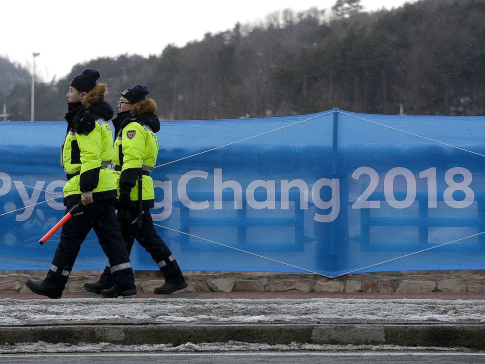 PHOTO: Security workers patrol the Alpensia resort at the 2018 Winter Olympics in Pyeongchang, South Korea, Feb. 2, 2018.