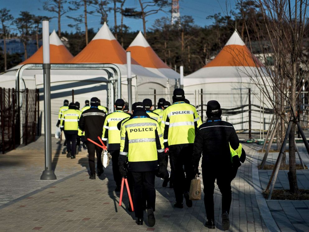 PHOTO: Policemen are seen outside the Kwandong Hockey Centre before the Pyeongchang 2018 Winter Olympic Games, Feb. 6, 2018 in Gangneung, South Korea.