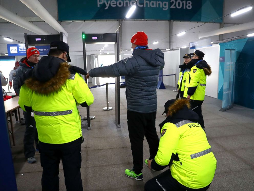 PHOTO: German athletes go through a security screening during previews ahead of the Pyeongchang 2018 Winter Olympic Games, Feb. 6, 2018, in Pyeongchang, South Korea