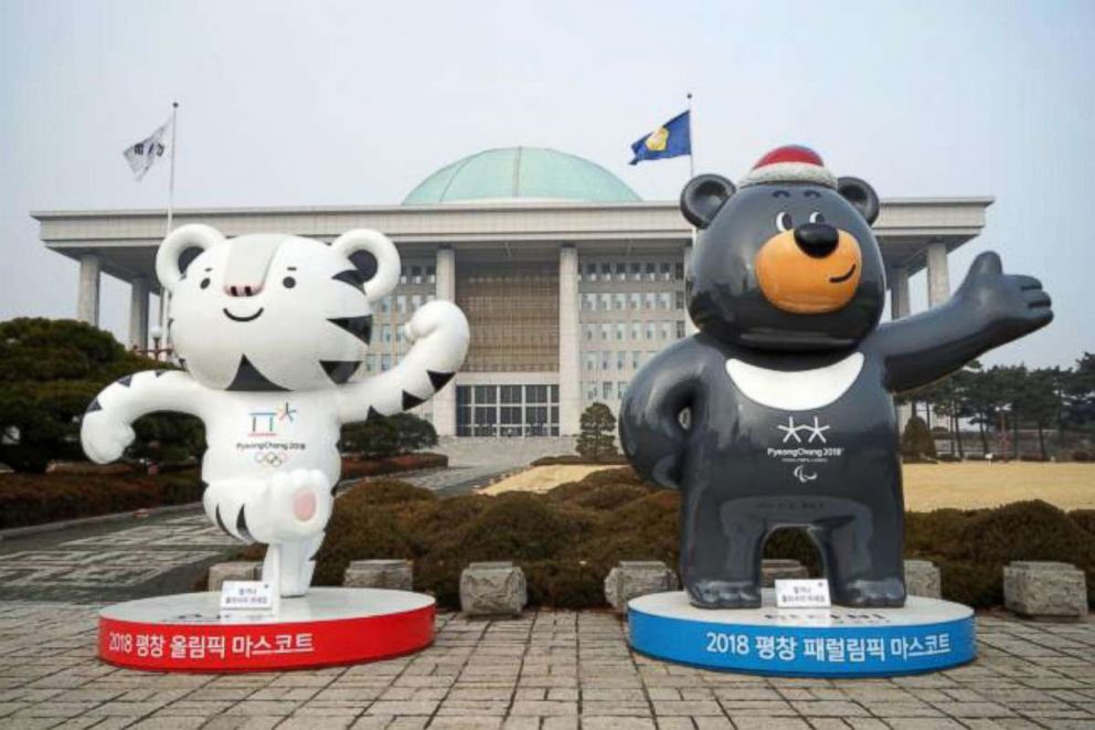 PHOTO: Soohorang and Bandabi, the mascots of the PyeongChang 2018 Olympic and Paralympic Winter Games, in front of the National Assembly Building of South Korea, Dec. 30, 2017, in Seoul, South Korea.
