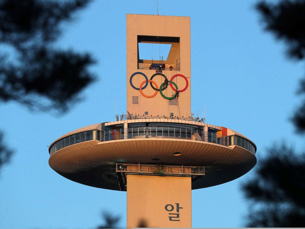 PHOTO: Olympic rings are displayed on the ski jump tower at Pyeongchang Alpensia Olympic park in preparation for the 2018 Pyeongchang winter Olympic Games, Jan. 27, 2018, in Pyeongchang.