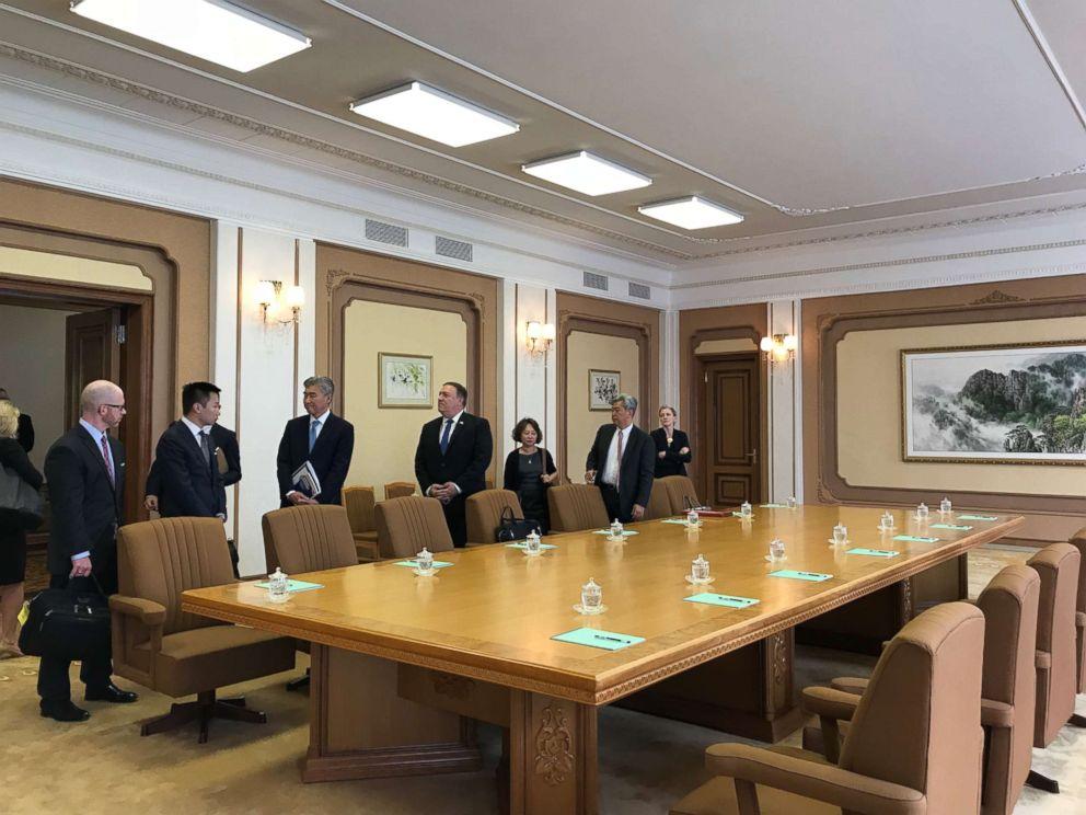 Pompeo arrives for talks with the North Korean delegation.