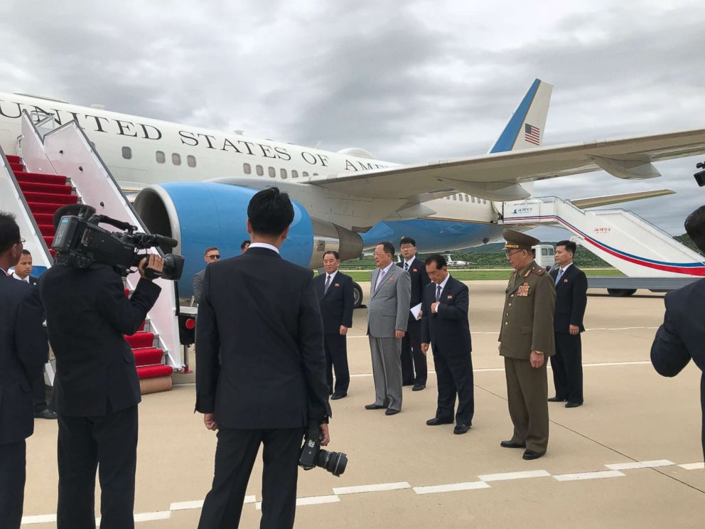 Dignitaries await Secretary of State Mike Pompeos arrival at the Pyongyang Airport.
