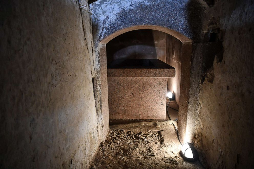 PHOTO: In this photo taken on June 28, 2019, a granite coffin is shown inside the pyramid of Senusret II, known as el-Lahun Pyramid, in Faiyum, Egypt.