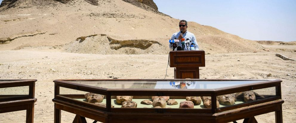 PHOTO: On June 28, 2019, Egyptian Minister of Antiquities Khaled al-Anany speaks at a press conference in Faiyum, Egypt, inaugurating the pyramid of Senusret II, known as el-Lahun Pyramid, marking its opening to visitors for the first time.