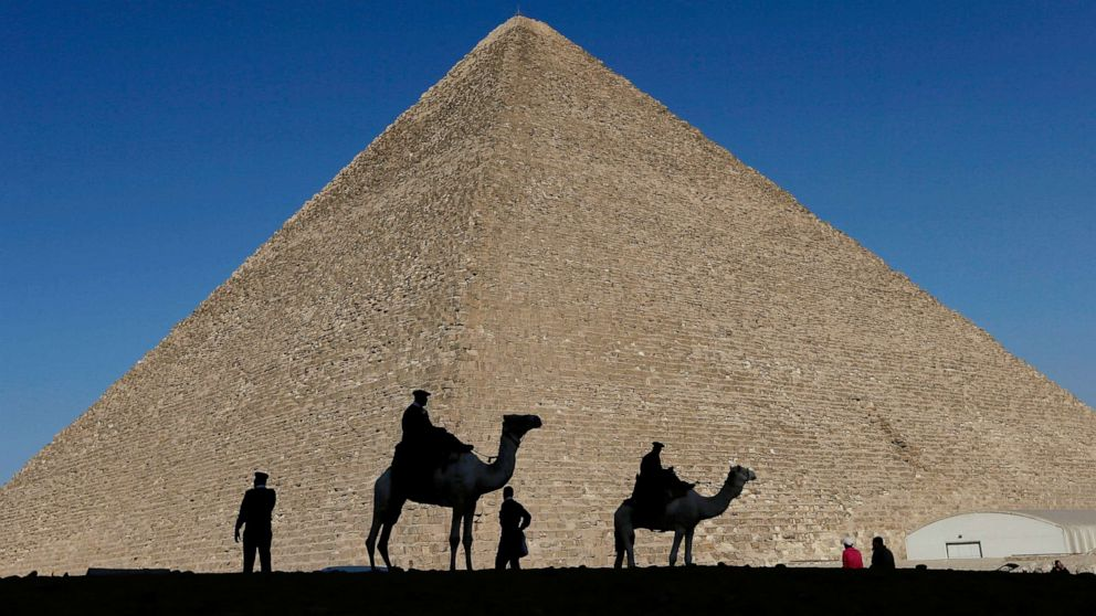 Egyptian man climbs Great Pyramid of Giza and throws stones at security