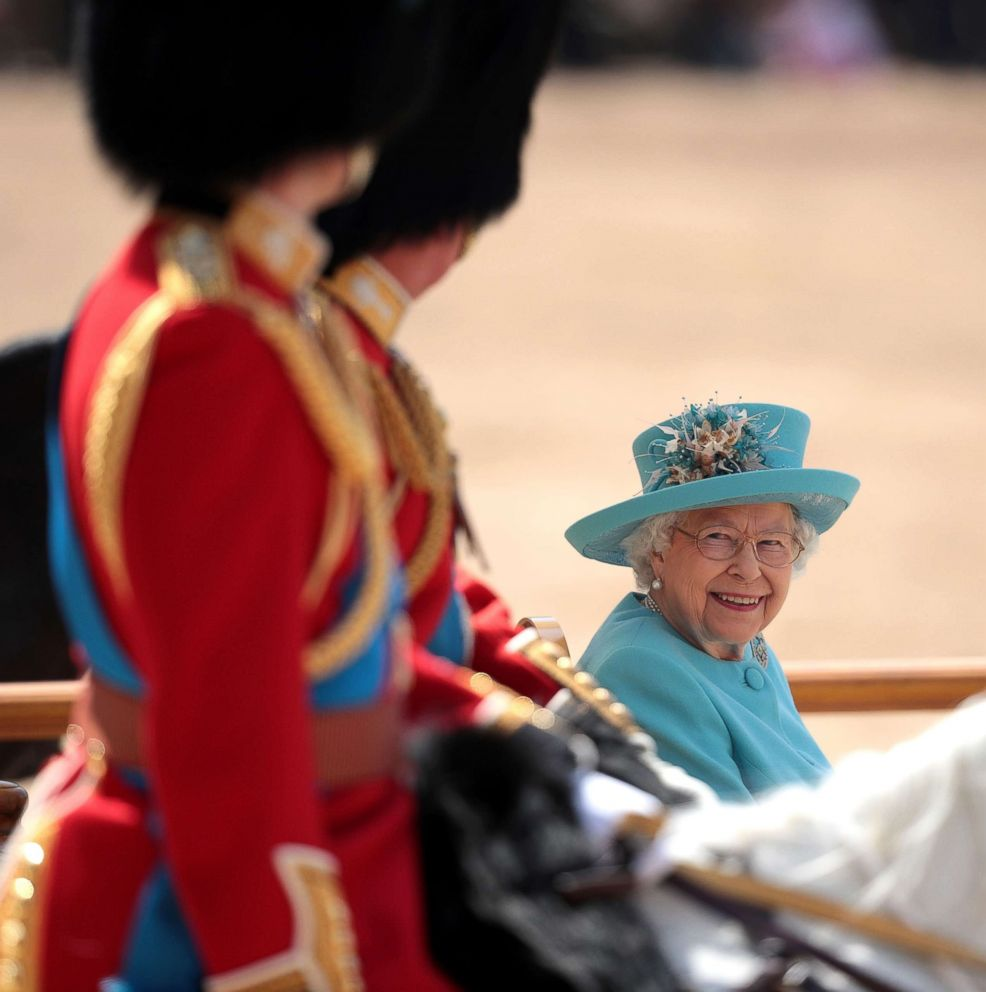 PHOTO: Queen Elizabeth II smiles at Prince William, Duke of Cambridge during Trooping The Color ceremony at The Royal Horseguards on June 9, 2018 in London.