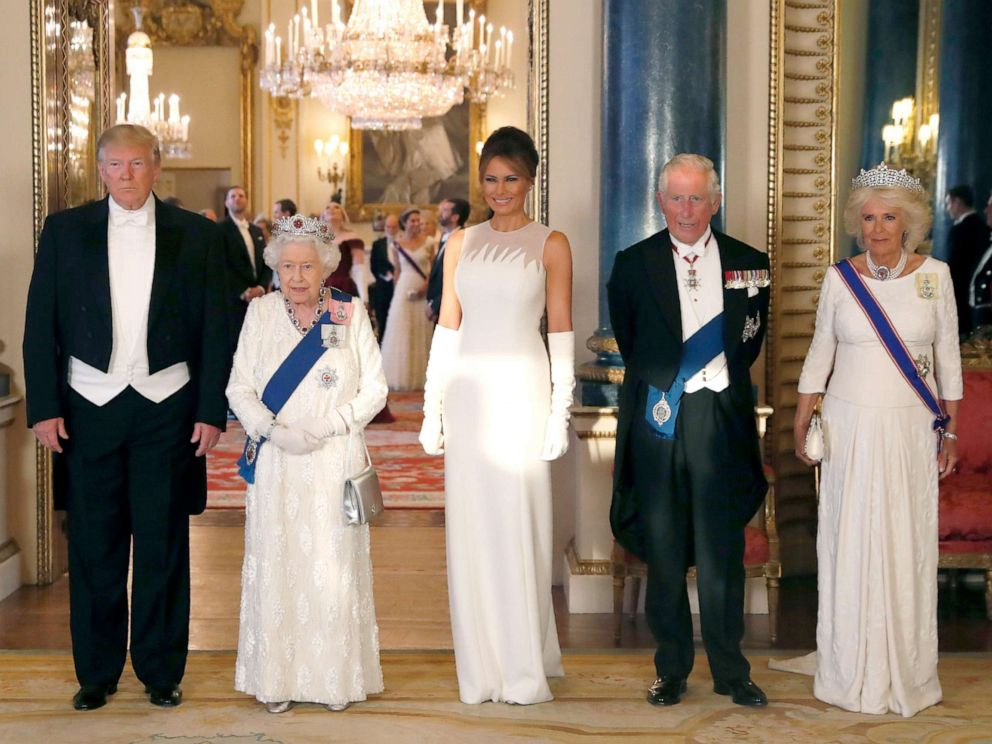 PHOTO: President Donald Trump, Queen Elizabeth, first lady Melania Trump, Prince Charles and Camilla, the Duchess of Cornwall pose for the media ahead of the State Banquet at Buckingham Palace in London, June 3, 2019.
