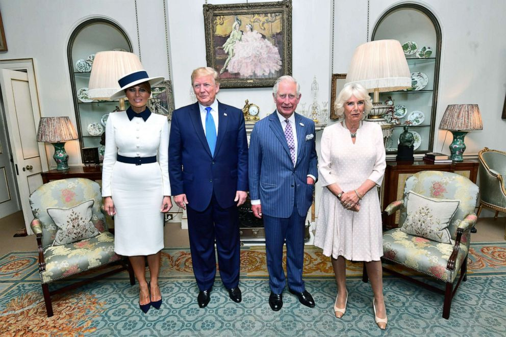 PHOTO: President Donald Trump and his wife Melania Trump are seen with Britains Prince Charles and his wife Camilla, Duchess of Cornwall in London, June 3, 2019.