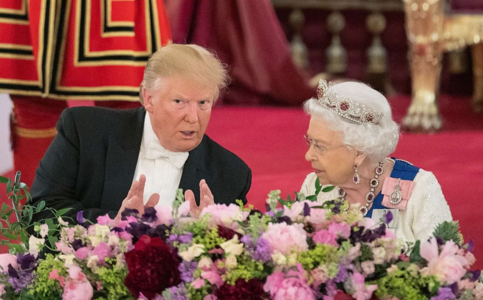 PHOTO: President Donald Trump and Queen Elizabeth attend a State Banquet at Buckingham Palace, June 3, 2019, in London.