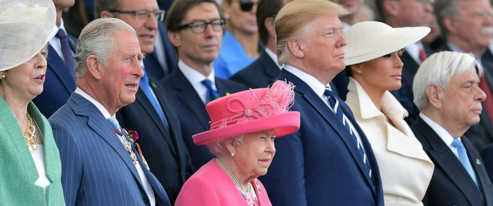 PHOTO: PHOTOQueen Elizabeth II and President Donald Trump and veterans gather on the south coast of England for a ceremony marking the 75th anniversary of D-Day, June 5, 2019.