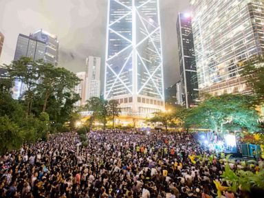 PHOTO: Thousands of protesters descend on to Charter Park this evening as demonstrators watch video messages of support from international supporters as well as live speakers at a protest in Hong Kong, China, August 16, 2019.