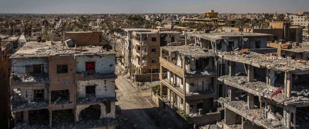 PHOTO: Damaged buildings around the National Hospital in west Raqqa, Syria, Oct. 16, 2017.
