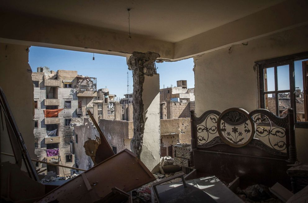 PHOTO: A destroyed bedroom in Raqqa, Syria, Oct. 16, 2017.