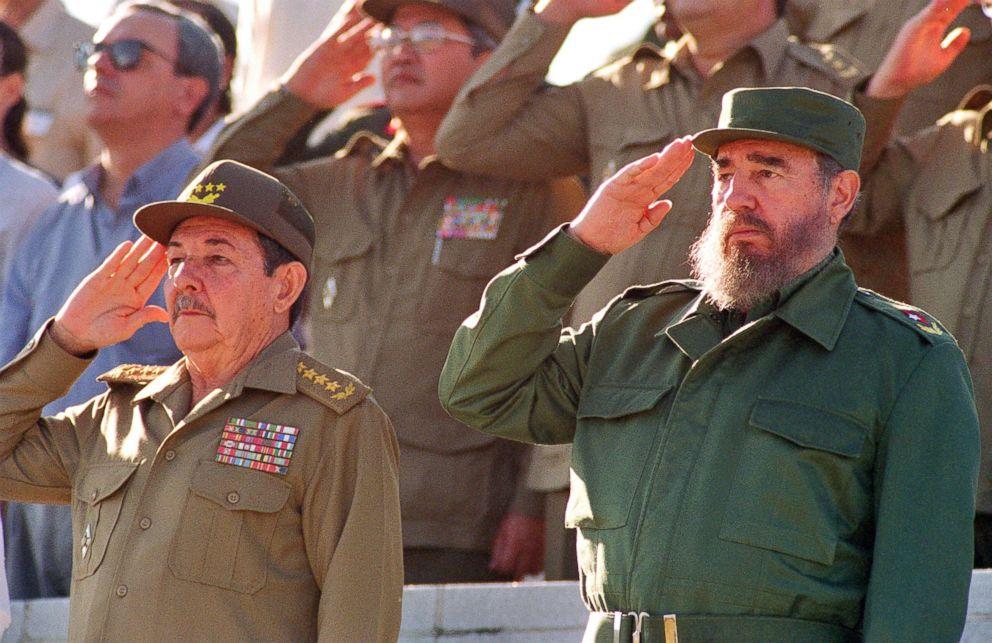 PHOTO: Fidel Castro and his brother Raul (L) attend a parade, Dec. 2, 1996, in Havana, Cuba.