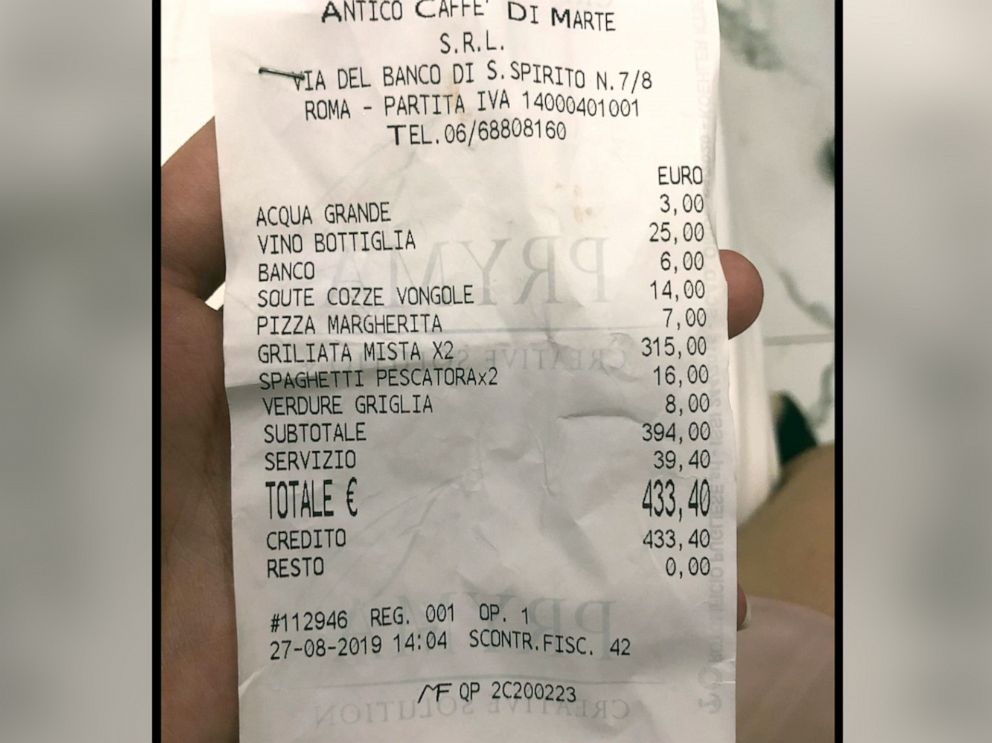 PHOTO: Receipt a couple received, and posted to their TripAdvisor review, after dining at the Antico Caffe di Marte in Rome, Italy.