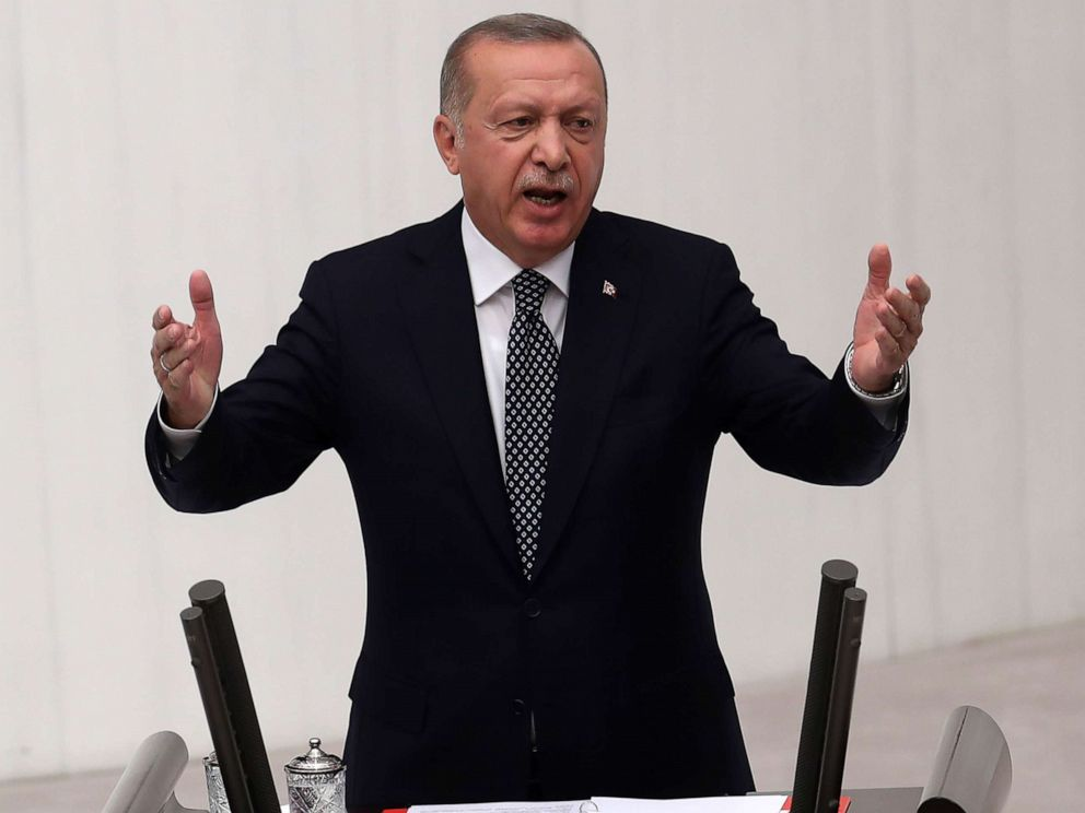 PHOTO: Turkish President Recep Tayyip Erdogan gestures as he delivers a speech during the opening of the third legislative session of the Turkish parliaments 27th term on Oct. 1, 2019, at the Grand National Assembly of Turkey (TBMM) in Ankara.