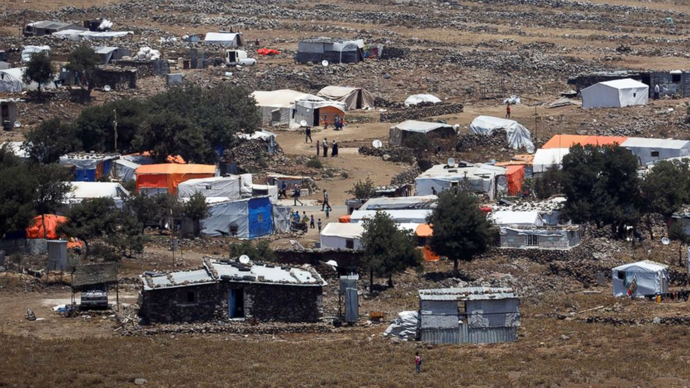 A general view of refugee tents erected on the Syrian side of the Israeli Syrian border, July 17, 2018.