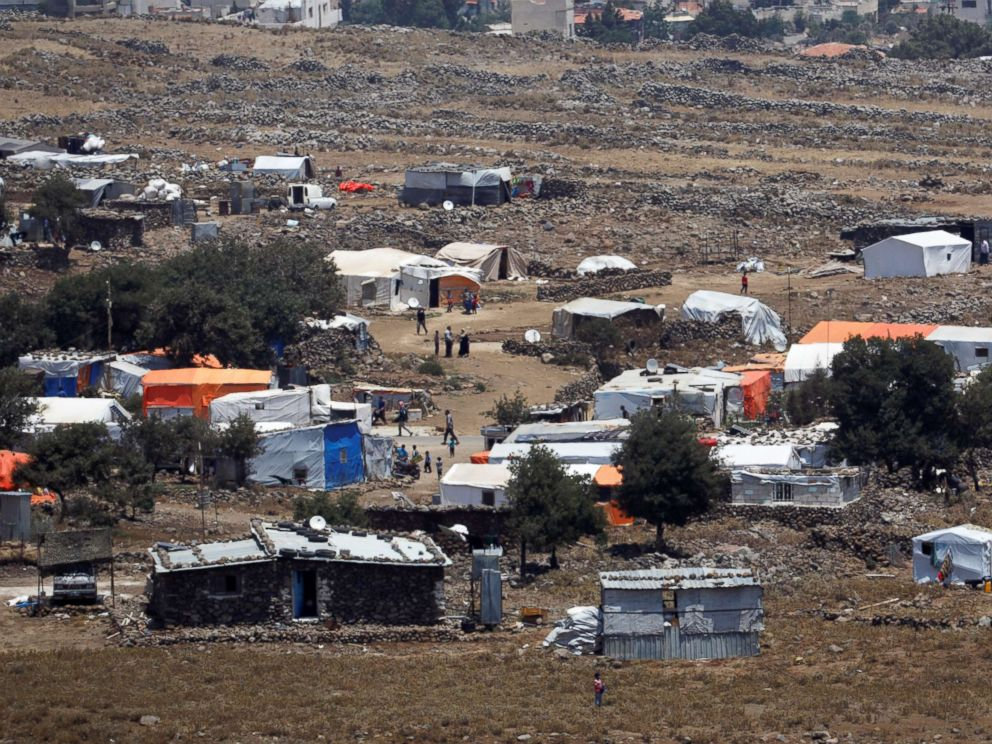 PHOTO: A general view of refugee tents erected on the Syrian side of the Israeli Syrian border, July 17, 2018.