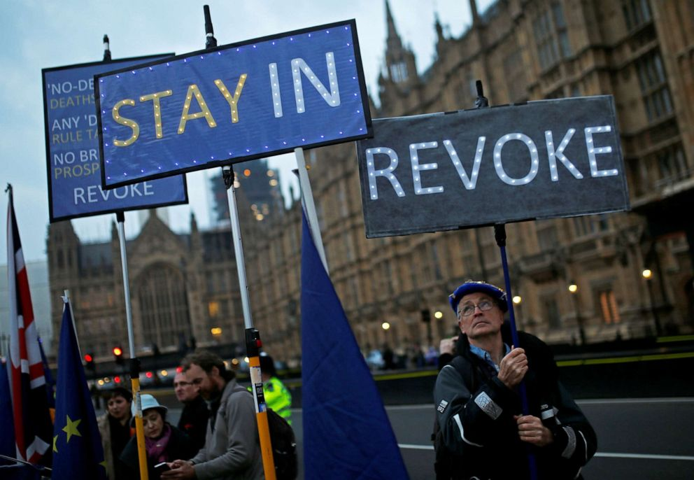 PHOTO: Anti-Brexit protesters gather outside the Houses of Parliament, in London, April 8, 2019.