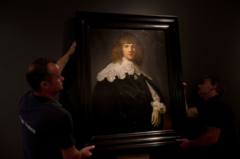 PHOTO: A painting attributed to famous Dutch Master Rembrandt is put on display at the Hermitage museum in Amsterdam, May 16, 2018.