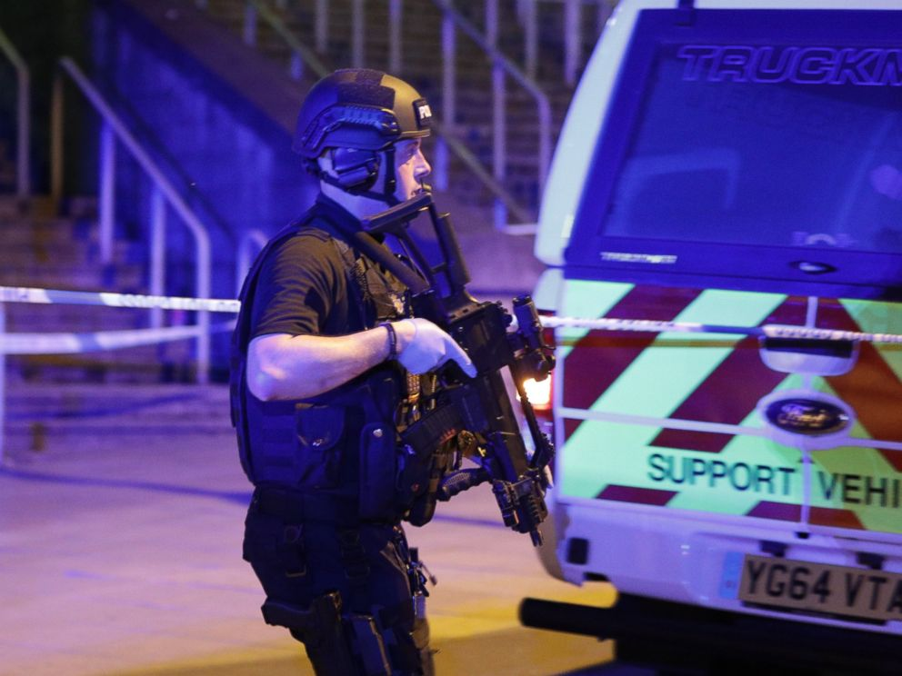PHOTO: Police and other emergency services are seen near the Manchester Arena after reports of an explosion, May 22, 2017.