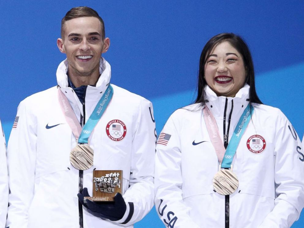 PHOTO: (L-R) Bronze medalists Nathan Chen, Adam Rippon, Mirai Nagasu and Bradie Tennell of team U.S. celebrate during the medal ceremony after the figure skating team event at Medal Plaza, Feb. 12, 2018, in Pyeongchang, South Korea.