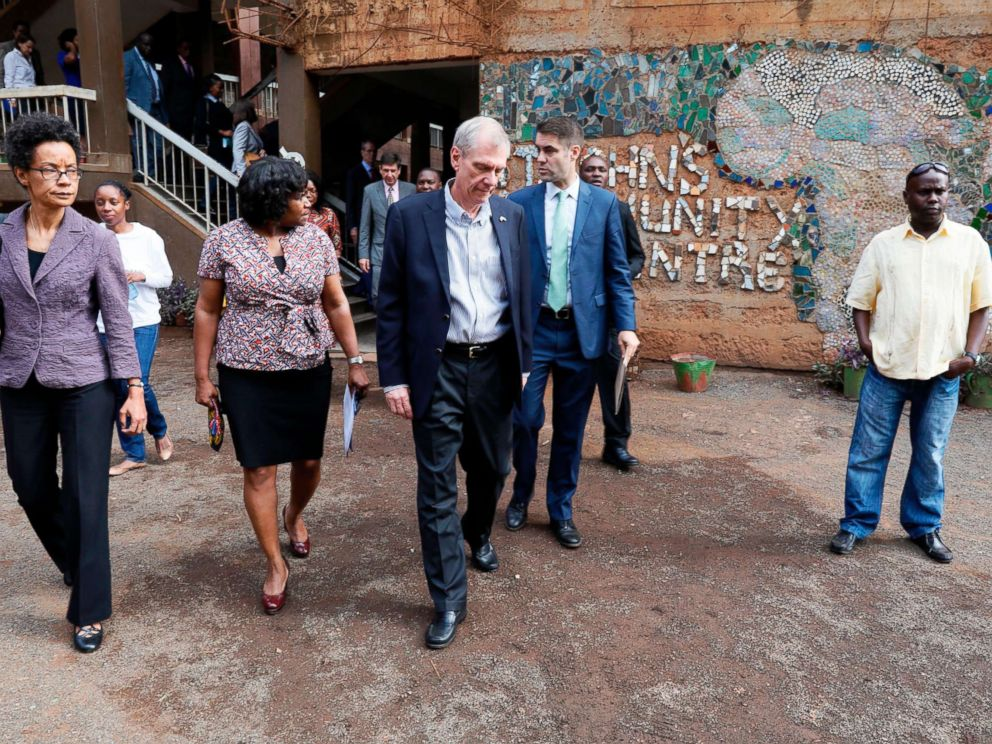 PHOTO: U.S. Ambassador to Kenya Robert Godec (C) visits a Presidents Emergency Plan for AIDS Relief (PEPFAR) project for girls empowerment in Nairobi, March 10, 2018.