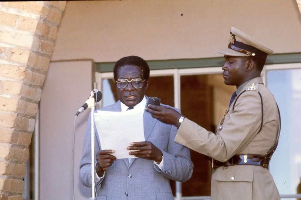 PHOTO: Robert Mugabe is pictured speaking, March 26, 1983.