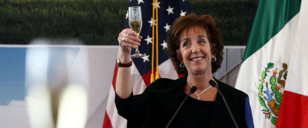 PHOTO: U.S. Ambassador to Mexico Roberta S. Jacobson raises her glass in a toast as she attends a ceremony to place the first stone of the new U.S. Embassy in Mexico City, Feb. 13, 2018.