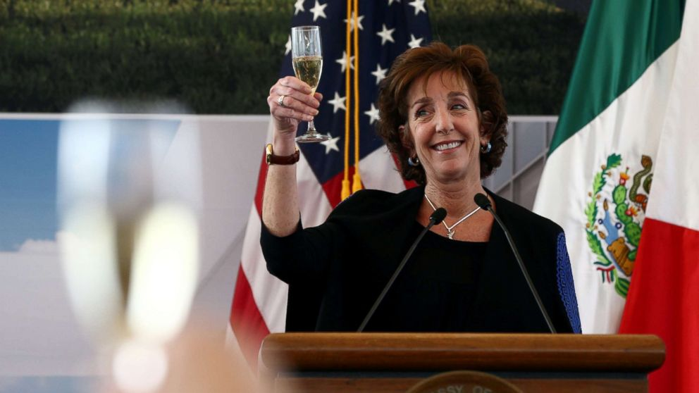U.S. Ambassador to Mexico Roberta S. Jacobson raises her glass in a toast as she attends a ceremony to place the first stone of the new U.S. Embassy in Mexico City, Feb. 13, 2018.