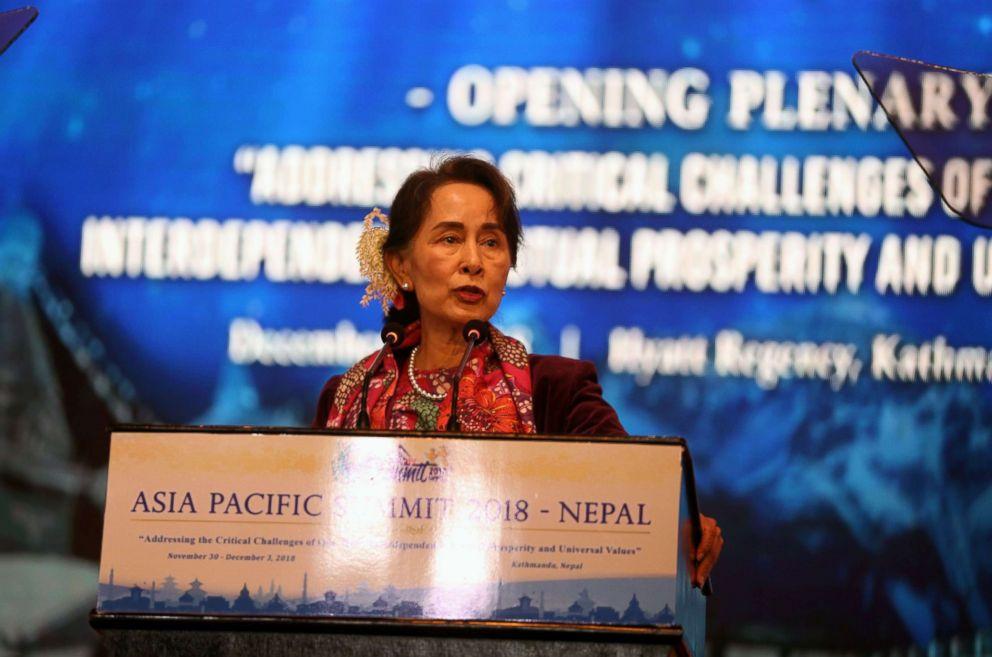 Myanmar's civilian leader Aung San Suu Kyi speaks at the Asia-Pacific Summit 2018 in Kathmandu, Dec. 1, 2018.