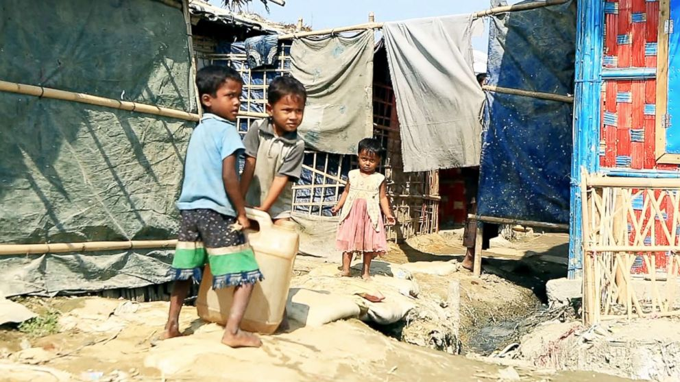 PHOTO: Children collect water at the Unchiprang refugee camp in Coxs Bazar, Bangladesh, Nov. 2018.