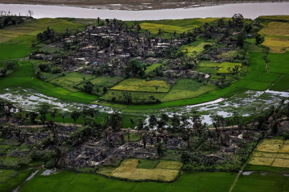PHOTO: The remains of a burned Rohingya village are seen in this aerial photograph taken near Maungdaw, north of Rakhine State, Myanmar, Sept. 27, 2017.