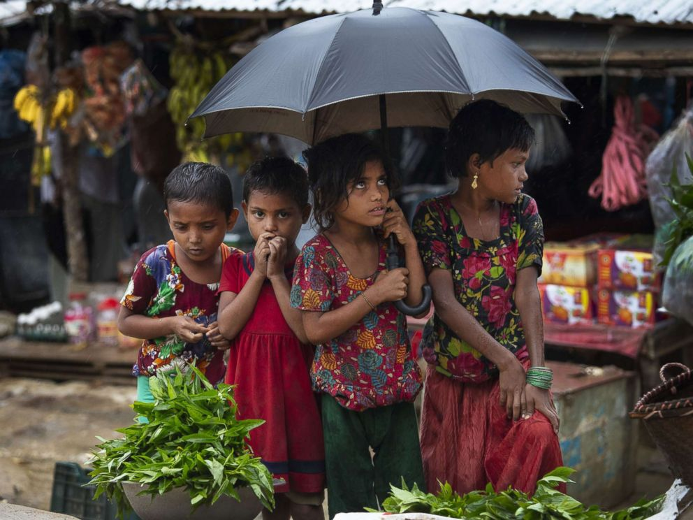 PHOTO: Monsoon hit the refugee camps Aug. 28, 2018 in Unchiprang refugee camp, Coxs Bazar, Bangladesh. UN investigators said that Myanmars army had carried out genocide against the Rohingya and that its top military figures must be investigated.