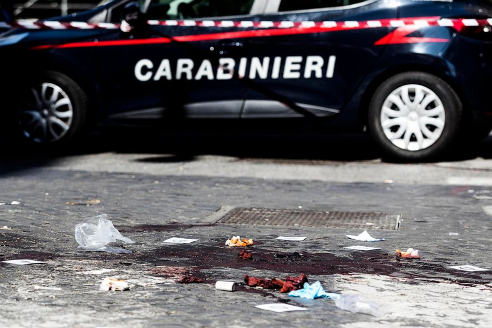 PHOTO: A car of the Italian Carabinieri, paramilitary police, is parked near the site where Carabiniere Vice Brigadier Mario Cerciello Rega was stabbed to death in Rome, July 26, 2019.