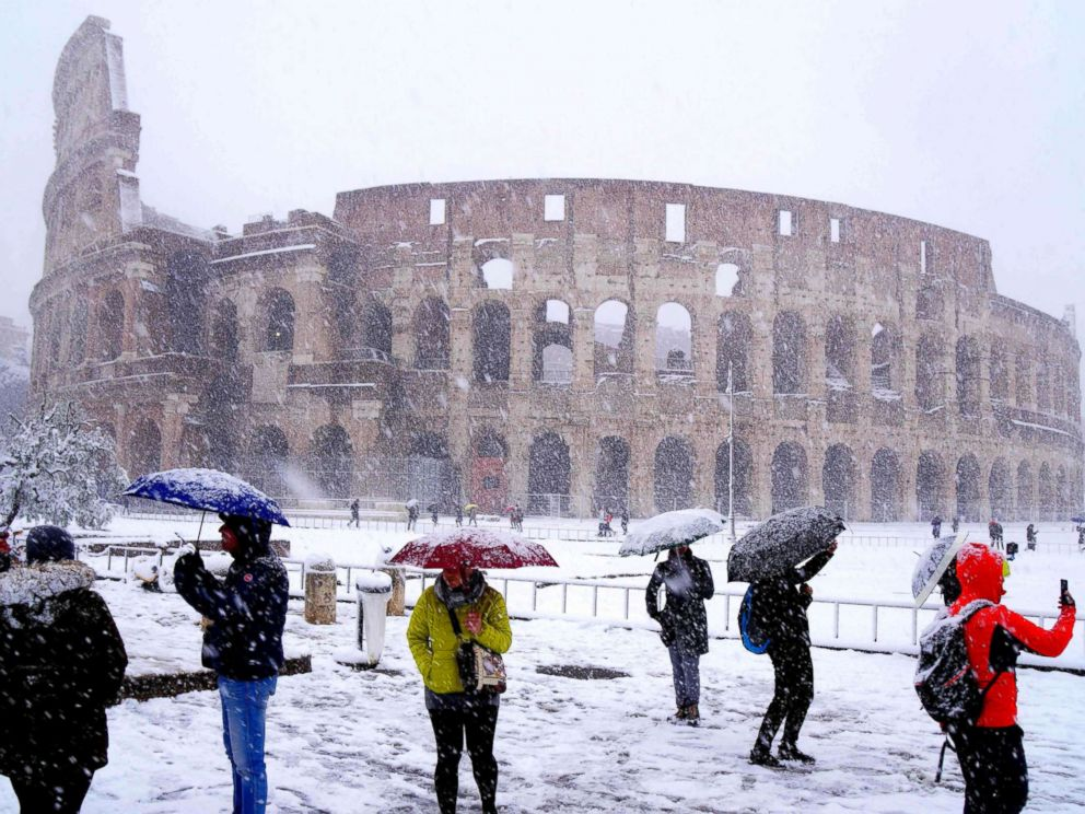 rome covered in rare snowfall abc news