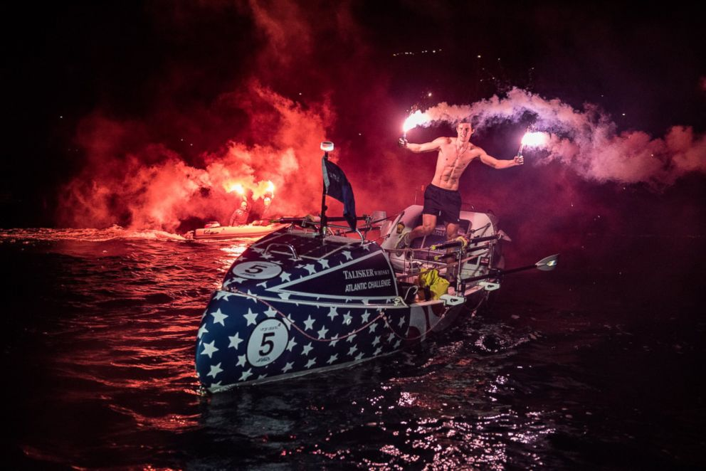 Oliver Crane, 19, became the youngest person to row solo across the Atlantic Ocean, on the Caribbean island of Antigua, Jan. 28, 2018.