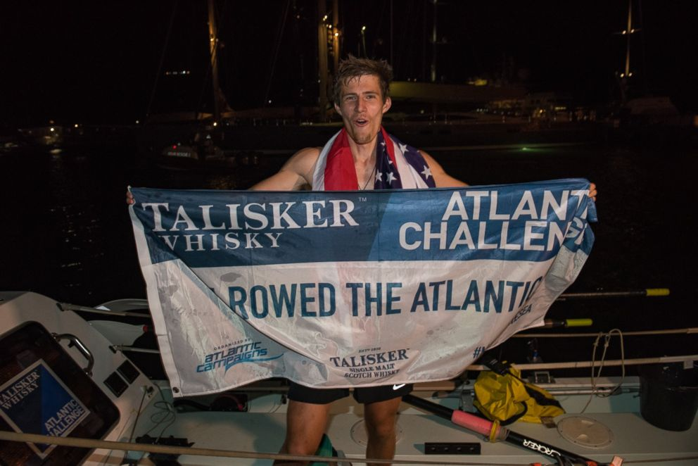 PHOTO: New Jersey native Oliver Crane, 19, celebrated becoming the youngest person to row solo across the Atlantic Ocean, on the Caribbean island of Antigua, on Jan. 28, 2018.