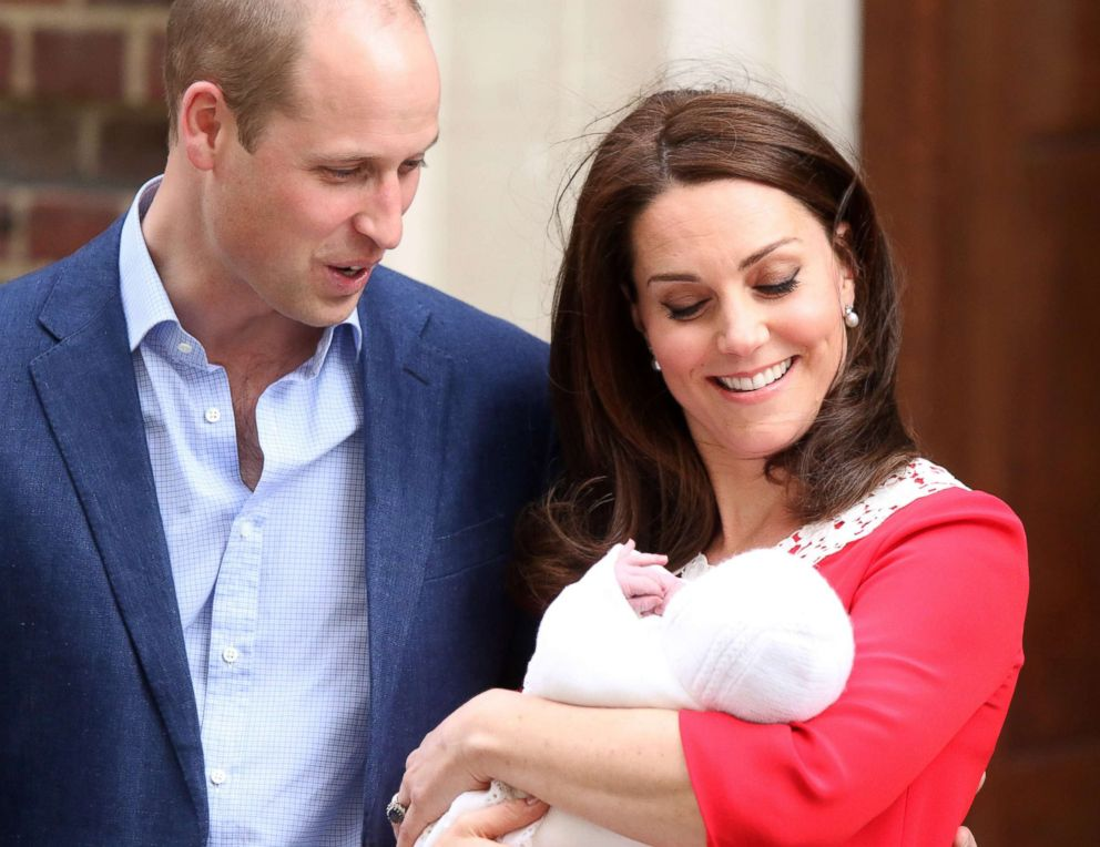 PHOTO: Kate, Duchess of Cambridge and Prince William, the Duke of Cambridge, outside the Lindo Wing of St Marys Hospital, with their third child, a baby boy, April 23, 2018.