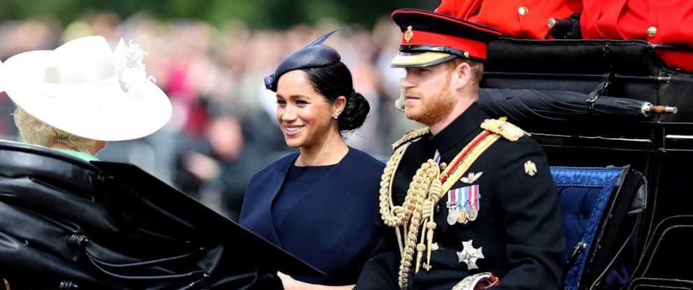 PHOTO: Meghan, Duchess of Sussex and Prince Harry, Duke of Sussex arrive at Trooping The Colour, the Queens annual birthday parade, on June 08, 2019, in London.